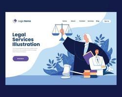 ilustração do vetor de serviços jurídicos de justiça e direito