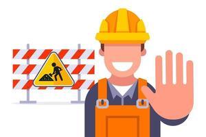 cercas para restrição de reparação de estradas de viagens na ilustração vetorial plana de rodovia vetor