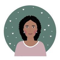 Foto de perfil de uma mulher afro-americana de meia-idade vetor
