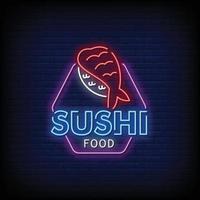 vetor de texto de estilo de sinais de néon de comida sushi