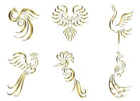 conjunto de seis imagens vetoriais de arte em linha de ouro de vários pássaros bonitos, como faisão, guindaste pavão, fênix e águia vetor