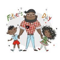 cartão do dia dos pais para o feriado um pai com uma filha e um filho vetor de cor de pele escura