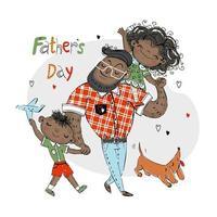 cartão do dia dos pais para o feriado um pai com uma filha com um filho e um cachorro de estimação com um dachshund vermelho cor de pele escura vetor