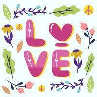 Paz e amor Design com vetor de elemento Floral