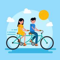 Passeio de casal em tandem bicicleta vector