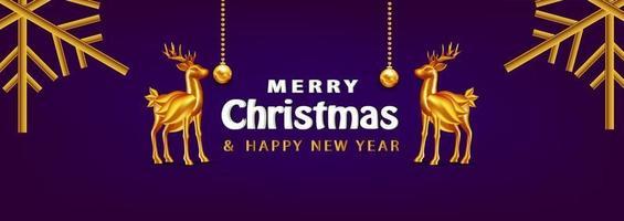 Fundo de Natal de banner de Natal de luxo com objetos realistas vetor