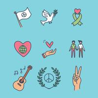 Ícones Sobre Paz E Amor vetor
