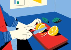 Chopping Citrus In The Kitchen Vector Ilustração Vintage plana