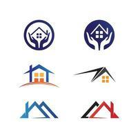 design de logotipo para casa, arquitetura e construção, propriedade de design, ficar em casa vetor