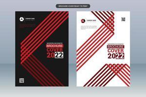 capa de relatório de negócios de linhas vermelhas modernas vetor