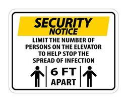 aviso de segurança elevador sinal de distanciamento físico vetor