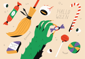 Monstro e bruxa comemoram a ilustração em vetor de doces de festa de Halloween