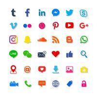 Conjunto de ícones de mídia social vetor