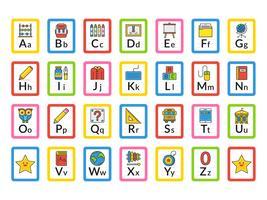 Cartões temáticos do alfabeto do alfabeto da escola vetor