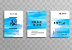 Conjunto de modelo moderno azul aquarela brochura de negócios vetor