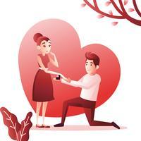 Casal de proposta de engajamento vetor