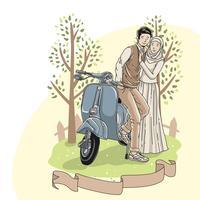 Save The Date Illustration Vetor de casal muçulmano