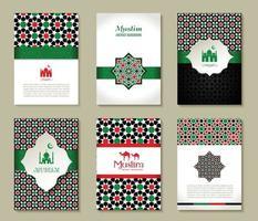 banners conjunto de islâmico. design de cores dos EUA. vetor