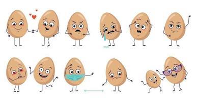 conjunto de personagens de ovos fofos com emoções rosto braços e pernas feliz decoração de páscoa sorrindo ou tristes heróis da comida se apaixonando mascarados a distância dançando ou chorando vetor