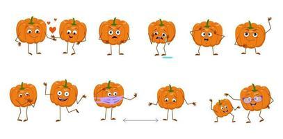 conjunto de personagens fofinhos de abóbora com emoções rostos braços e pernas alegres ou tristes heróis laranja outono vegetais brincar se apaixonar mantenha distância decorações de halloween vetor