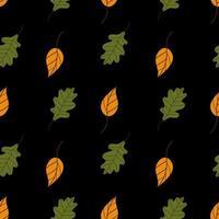 padrão sem emenda de folhas de bordo amarelo. Belo padrão de outono com folhas caídas em um fundo preto. Fundo colorido de outono. Ilustração em vetor em estilo simples para papel de embrulho, impressão têxtil