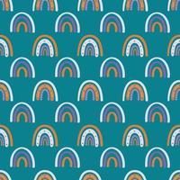 fofo boho arco-íris no padrão sem emenda de fundo esmeralda. ilustração vetorial moderna para têxteis, papel, design de impressão vetor
