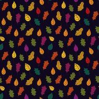 padrão de folhas caídas. padrão de outono bothnian com folhas caídas de árvores em um fundo preto. fundo de outono. ilustração vetorial em estilo simples para papel de embrulho, impressão têxtil, blogs vetor