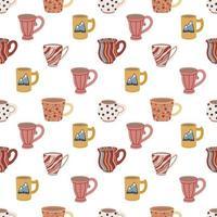 padrão sem emenda com xícaras e canecas. bonitos talheres de cerâmica. concepção de têxteis, menus, cantinas, lanchonetes, cafés e restaurantes. ilustração vetorial vetor
