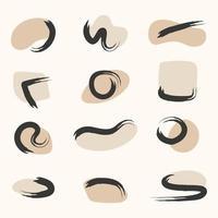 um conjunto de formas gráficas contemporâneas doodle objetos abstratos e formas geométricas redondas da moda, rabiscos desenhados à mão criativos, estilo primitivo vetor