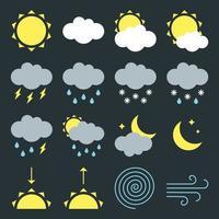 sinais de ícones de clima moderno definir símbolos de ilustração vetorial de design de estilo simples isolados em fundo escuro vetor