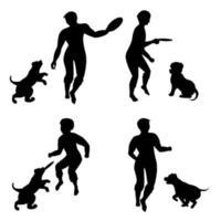 imagem vetorial de silhuetas de cachorrinhos brincando com seu mestre vetor