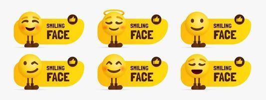 personagens emoji fofos em pé com um conjunto de rótulos de texto de rosto feliz vetor