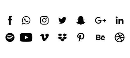 conjunto de ícones de mídia social preto coleção de logotipos editoriais vetor