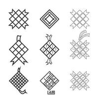feriado muçulmano ramadhan eid mubarak diamante ketupat vetor