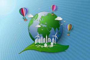 conceito de eco amigável e preservação do meio ambiente balão de ar quente colorido com árvore voando sobre a cidade e o mundo do papel arte vetor