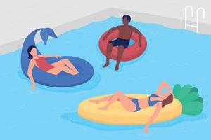 se divertindo com os amigos na piscina ilustração vetorial de cor lisa vetor