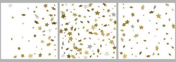 Celebração de confetes de estrelas douradas 3D caindo decoração abstrata dourada para festa vetor