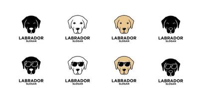 conjunto coleção labrador retriever design de ícone de logotipo de cabeça de cachorro vetor