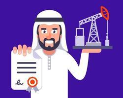 um homem do Oriente Médio está negociando um suprimento de petróleo vetor