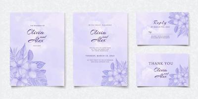 conjunto de cartão de convite de casamento floral roxo aquarela vetor