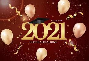 turma de formatura de 2021 com chapéu de formatura e confete vetor