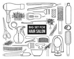 conjunto de ferramentas e joias para cabeleireiros em um fundo branco vetor