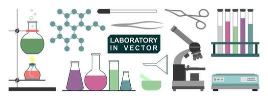 ilustração isolada de instrumentos de laboratório em um fundo branco vetor