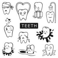 dentes doentes e saudáveis vetor