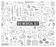 grande conjunto de itens médicos isolados em um fundo branco vetor