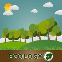 conceito de terra verde com folhas ecologia cidades ajudam o mundo com ideias de conceito ecologicamente corretas vetor