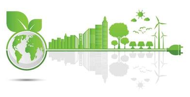 Ecologia e conceitos ambientais símbolo da terra com folhas verdes ao redor das cidades ajudam o mundo com ideias ecológicas vetor