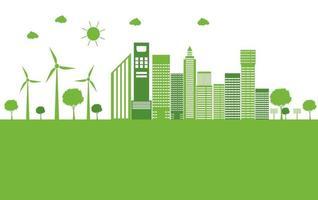 cidade ecológica verde ajude o mundo com ideias de conceito ecologicamente corretas vetor