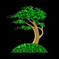 árvore abstrata de círculos verdes vetor