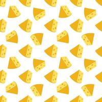 padrão sem emenda de queijo. pedaços de queijo amarelo, isolados em um fundo branco. pedaços de queijo de várias formas. ilustração em vetor plana